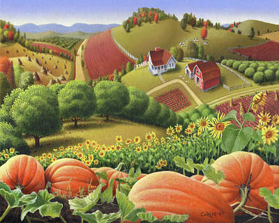 Appalachian Pumpkin Patch Signed And Numbered Limited Edition Print Original by Walt Curlee