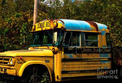 Old School Bus Photograph - Appalachian Repair Shop by Steven Digman