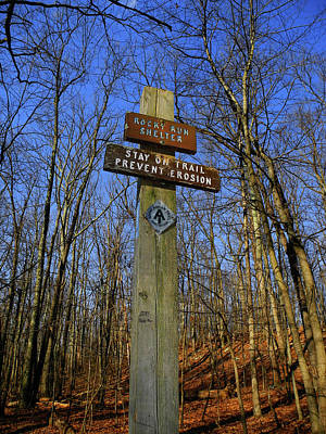 Photograph - Appalachian Trail In Maryland Rocky Run Shelter Sign by Raymond Salani III