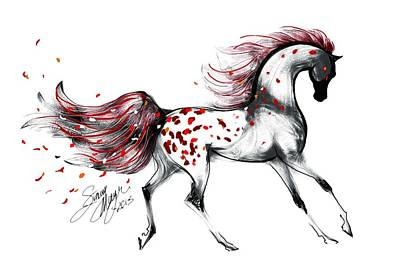 Digital Art - Appaloosa Rose Petals Horse by Stacey Mayer