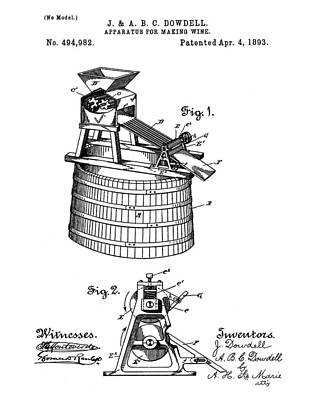 Apparatus For Making Wine Patent 1893 Art Print by Bill Cannon