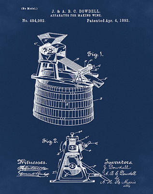Apparatus For Making Wine Patent 1893 Blue Art Print by Bill Cannon