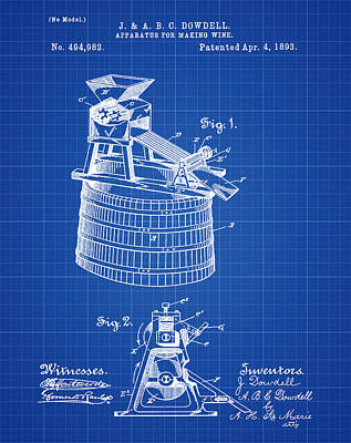 Apparatus For Making Wine Patent 1893 Blueprint Art Print by Bill Cannon