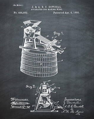 Apparatus For Making Wine Patent 1893 Chalk Art Print by Bill Cannon