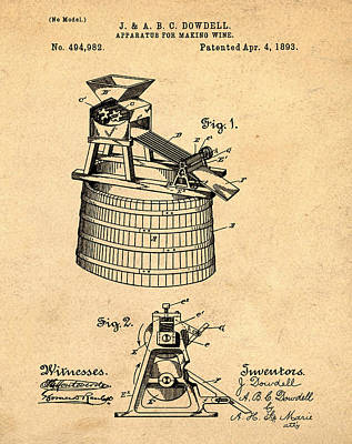 Apparatus For Making Wine Patent 1893 Sepia Art Print by Bill Cannon