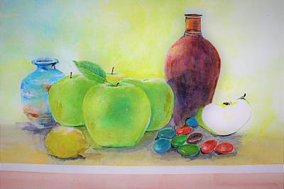 Painting - Apple A Day by Khalid Saeed