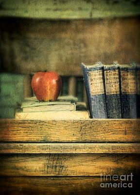 One Room Schoolhouse Photograph - Apple And Books On The Teachers Desk by Jill Battaglia