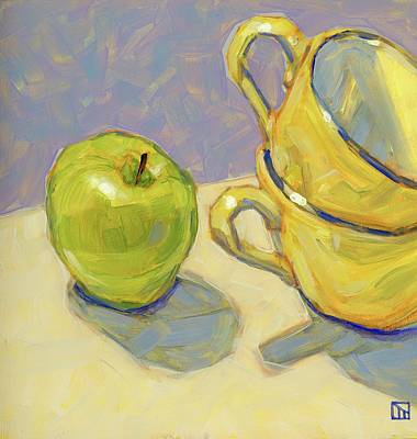 Green Apple And Tea Cups Art Print by Tom Taneyhill