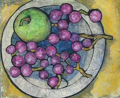 Apple And Grapes Art Print by Barbara Nye