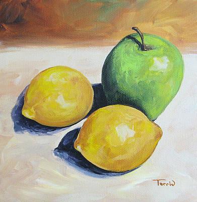Lemon Painting - Apple And Lemons by Torrie Smiley
