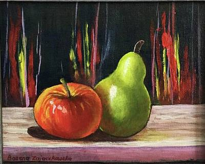 Painting - Apple And Pear by Bozena Zajaczkowska