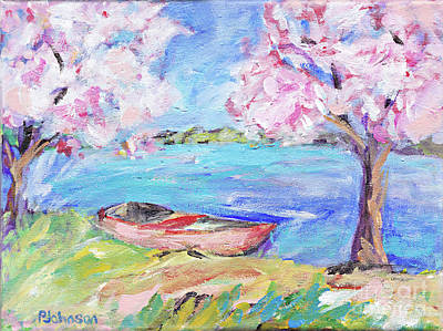 Painting - Apple Blossom Lake By Peggy Johnson by Peggy Johnson