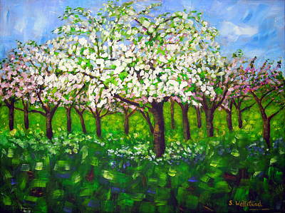 Painting - Apple Blossom Orchard by Shirley Wellstead