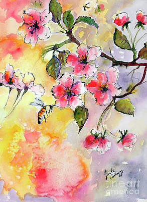 Painting - Apple Blossoms And Bee Watercolor by Ginette Callaway