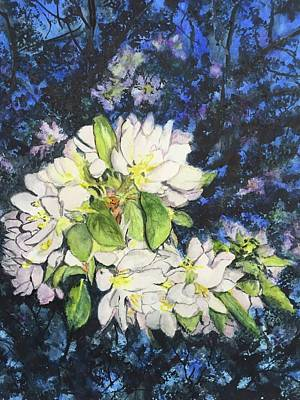 Painting - Apple Blossoms At Twlight by Carol Warner