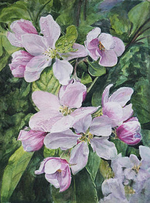 Wall Art - Painting - Apple Blossoms In The Rain by Nancy Delgado