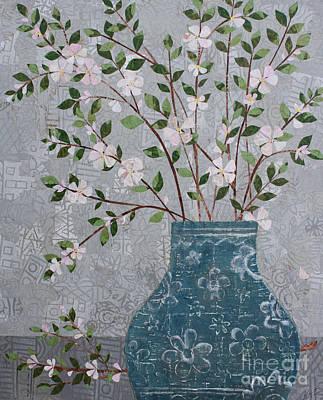 Mixed Media - Apple Blossoms In Vase by Janyce Boynton