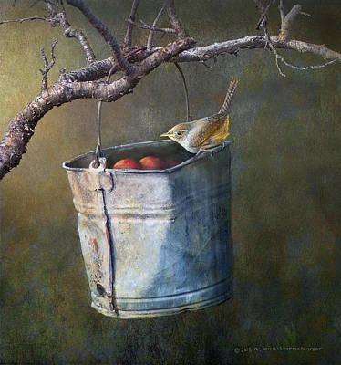 Wrens Digital Art - Apple Bucket, House Wren by R christopher Vest