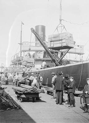 From The Kitchen - Apple cases being loaded onto ships, Hobart Wharves, Tasmania c1900s by Celestial Images