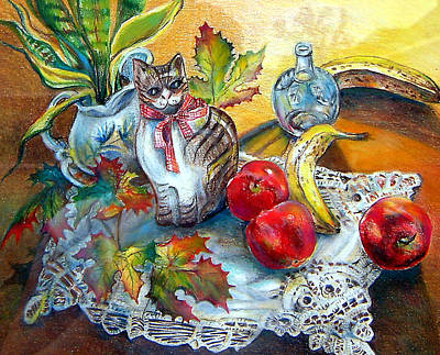 Painting - Apple Cat by Linda Shackelford