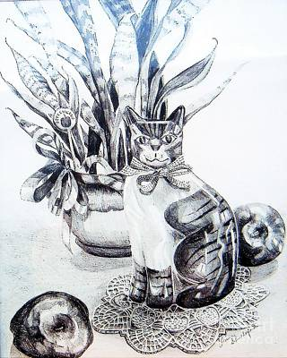 Drawing - Apple Cat Still    by Linda Shackelford