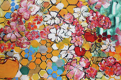 Painting - Apple Honeycomb Blossoms 201760 by Alyse Radenovic