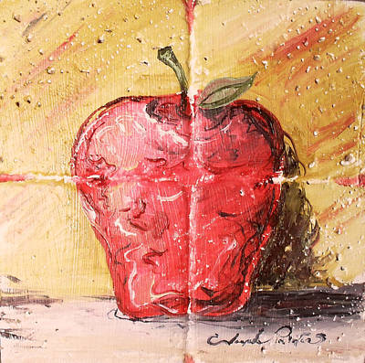 Ceramic Art Tile Painting - Apple by Joseph Palotas