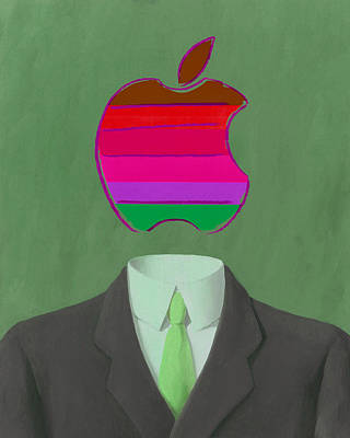 Rene Magritte Painting - Apple-man-3 by Rene Magritte and Andy Warhol