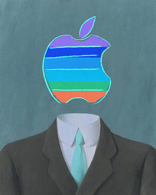 Rene Magritte Painting - Apple-man-5 by Rene Magritte and Andy Warhol
