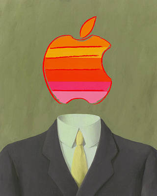 Magritte Painting - Apple-man-6 by Rene Magritte and Andy Warhol