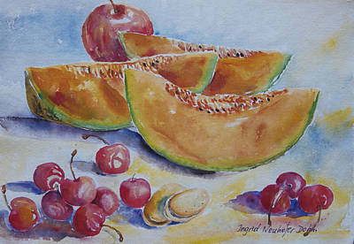 Painting - Apple Melon Cherries by Ingrid Dohm