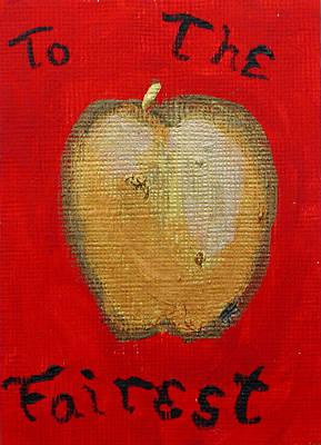 Wall Art - Painting - Apple Of Discord by Helen Krummenacker