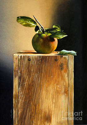 Painting - Apple On A Box by Larry Preston