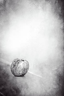 Photograph - Apple On The Mantel In Bw by YoPedro
