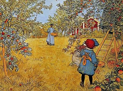 Apple Orchard Art Print by Carl Larsson