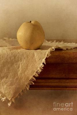 Wooden Photograph - Apple Pear On A Table by Priska Wettstein