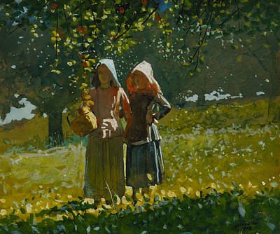 American Painters Painting - Apple Picking by Winslow Homer