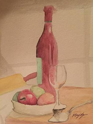 Fruit Bowl Window Painting - Apple Pie by Mary Lynn Smith