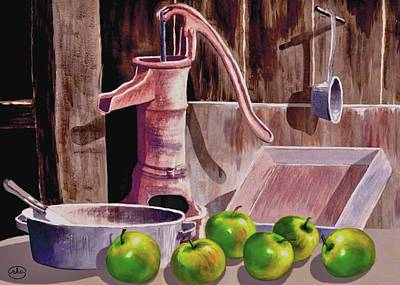 Still Life With Green Apples Painting - Apple Pie by Ron Chambers
