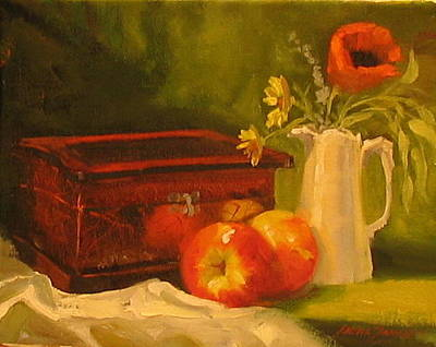 Boxes Painting - Apple Reflections by Laura Lee Zanghetti