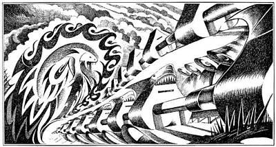 Editoria Drawing - Apple Sharks Army by Ciro Pignalosa