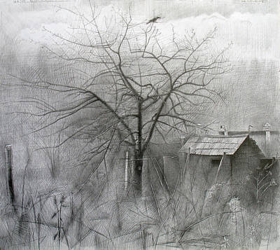 Early Spring Drawing - Apple-tree. 2008 by Yuri Yudaev