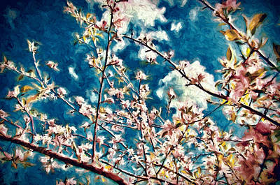 Apple Tree In Bloom Art Print by John K Woodruff
