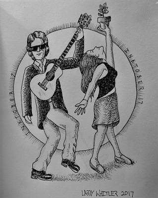 Drawing - Apple Tree Troubadours by Larry Whitler
