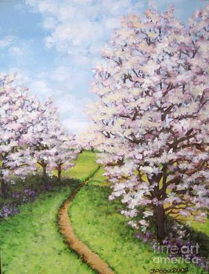 Painting - Apple Trees Along The Path by Inese Poga