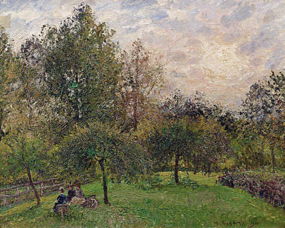 Apple Trees And Poplars In The Setting Sun Print by Camille Pissarro