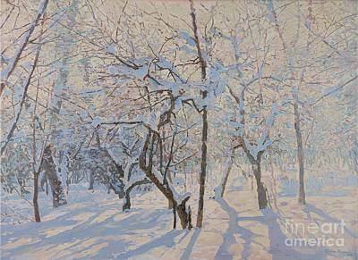 Painting - Apple Trees In The Snow by Simon Kozhin