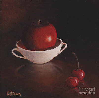 Realism Painting - Apple With Cherries by Colleen Brown