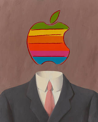 Rene Magritte Painting - Apple-man-1 by Rene Magritte and Andy Warhol
