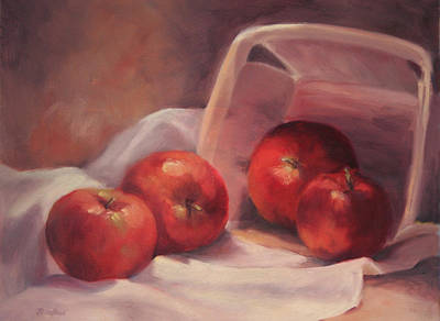 Apples And  Basket Art Print by Vikki Bouffard